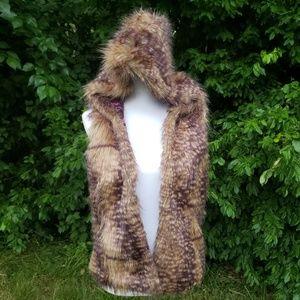 Burning Man Faux Fur Hooded Vest Size Med